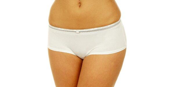 Dámske biele nohavičky Tom Tailor so striebornou čipkou