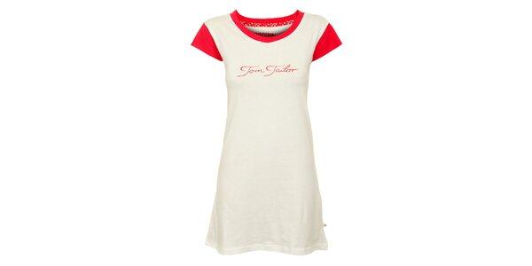 Dámska biela nočná košeľa Tom Tailor s červenými detailmi