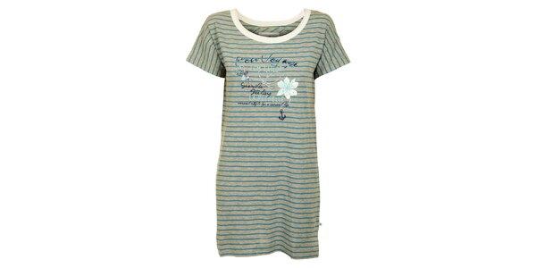 Dámska šedo-modrá prúžkovaná nočná košeľa Tom Tailor