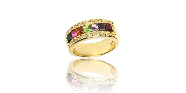 Dámsky zlatý prsteň Bague a Dames s farebnými kryštálmi
