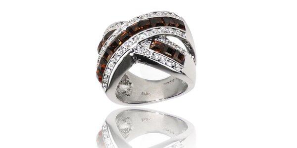 Dámsky strieborný prsteň Bague a Dames s hnedými kameny