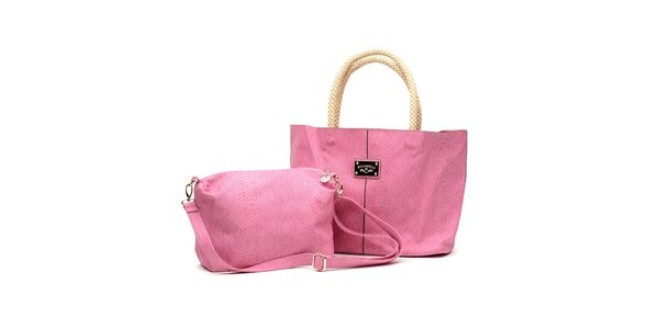 Dámsky set ružových kabeliek s béžovými detailami Princess Cult