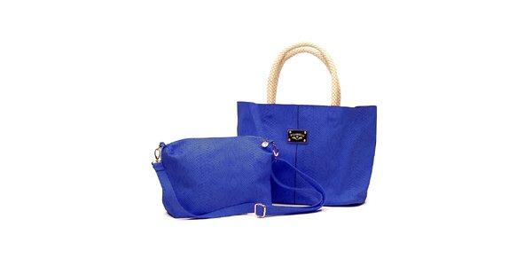 Dámsky set modrých kabeliek s béžovými detailami Princess Cult