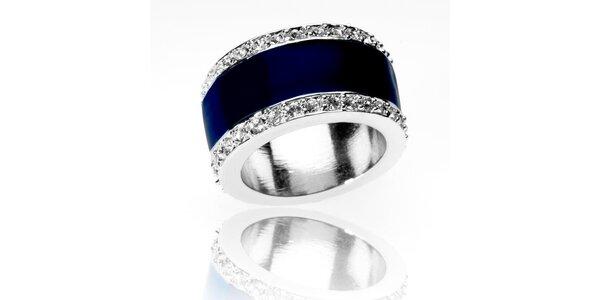 Dámsky strieborný prsteň Bague a Dames so zirkónmi a modrým pruhom
