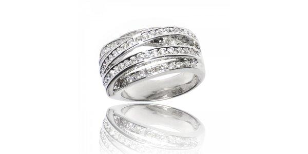 Dámsky strieborný prsteň Bague a Dames s bielymi zirkónmi