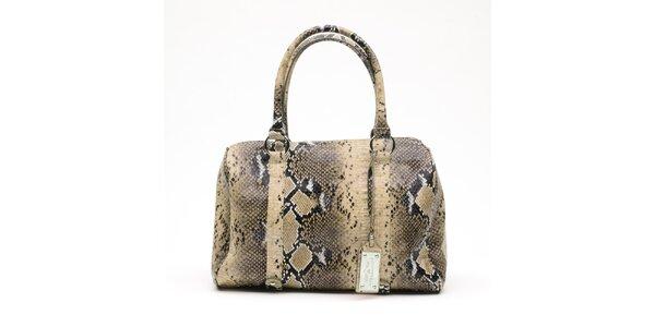 Dámska béžová kabelka s hadím vzorom a visačkou Princess Cult