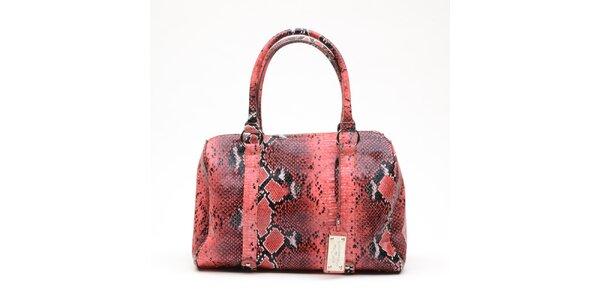 Dámska melónovo ružová kabelka s hadím vzorom a visačkou Princess Cult