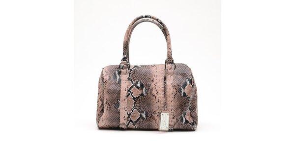 Dámska lososová kabelka s hadím vzorom a visačkou Princess Cult