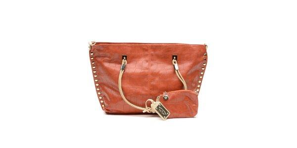 Dámska oranžová kabelka so zlatými cvočkami a peňaženkou na drobné Princess Cult