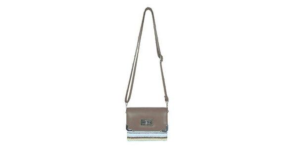 Dámska béžová mini kabelka Princess Queen s cik cak vzorom