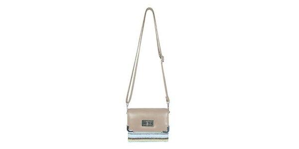 Dámska krémová mini kabelka Princess Queen s cik cak vzorom