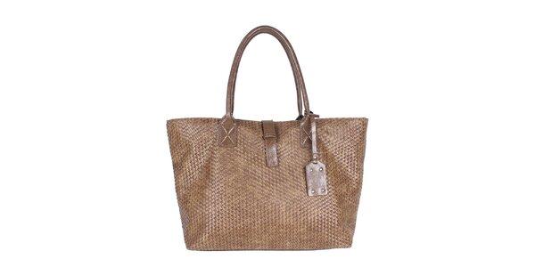 Dámska hnedá kabelka so vzorkou a visačkou Princess Cult