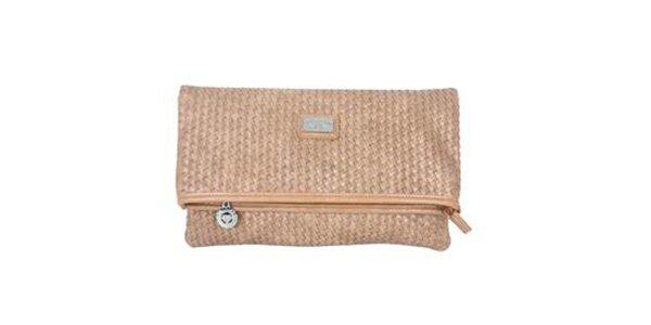 Dámska hnedá kabelka so vzorkou a kovovým logom Princess Cult