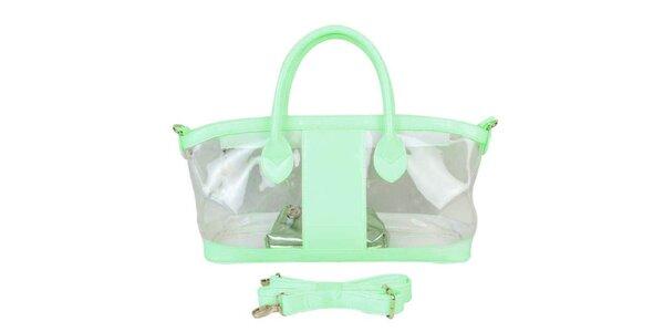 Dámska mätovo zelená priehladná kabelka Princess Cult