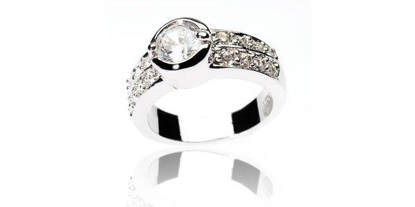 Dámsky strieborný prsteň Bague a Dames so zirkónmi a bílým kryštálom
