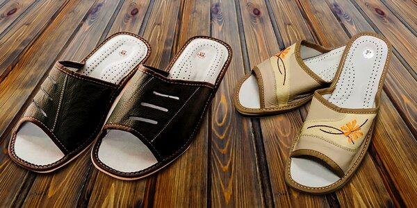 Pohodlné dámske papuče z eko kože