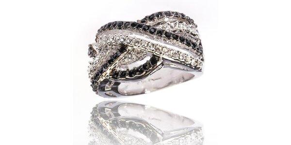 Dámsky strieborný prsteň Bague a Dames s bielymi a čiernymi zirkónmi