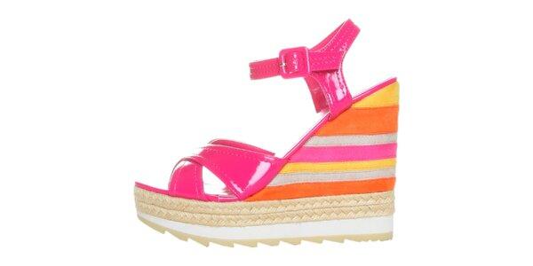 Dámske fuchsiovo-pomarančové lakované sandále na pruhovanom podpätku GAS