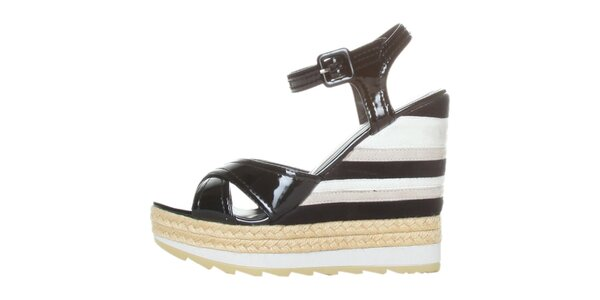 Dámske čierno-biele lakované sandále na pruhovanom podpätku GAS