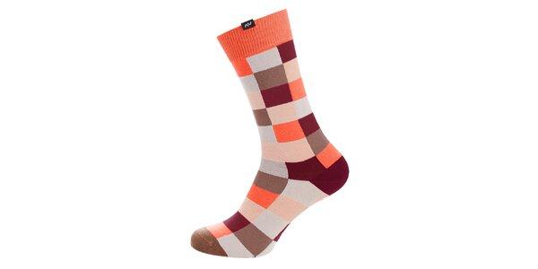 Dámske oranžovo-hnedé kockované ponožky Minga Berlin - 3 páry