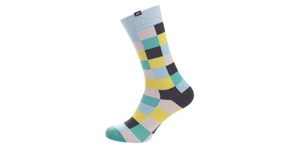 Dámske žlto-modré kockované ponožky Minga Berlin - 3 páry