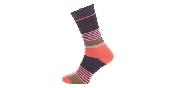 Dámske šedo-oranžové prúžkované ponožky Minga Berlin - 3 páry