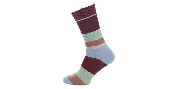 Dámske hnedo-modro-zelené prúžkované ponožky Minga Berlin - 3 páry
