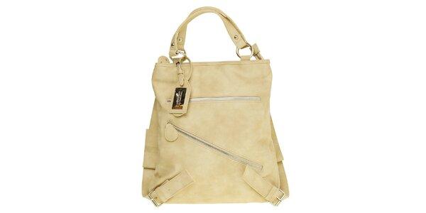 Dámska pisková kabelka - batoh s šikmým zipsom Café Noir