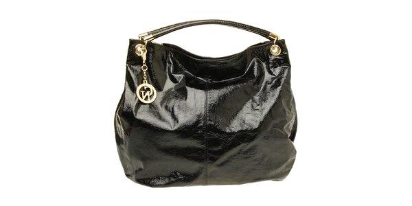 Dámska čierna lakovaná kabelka so zlatou visačkou Café Noir