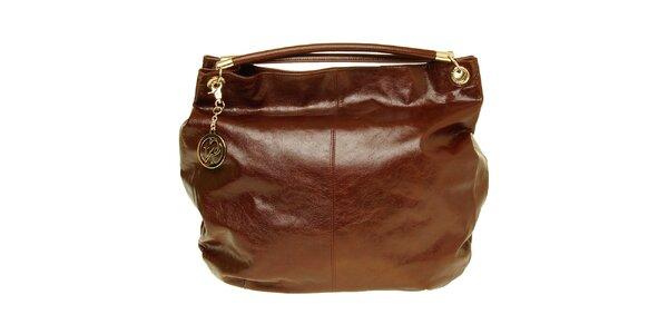 Dámska hnedá lakovaná kabelka so zlatou visačkou Café Noir