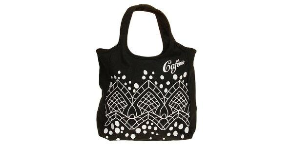 Dámska čierna látková kabelka s bielou grafickou potlačou Café Noir