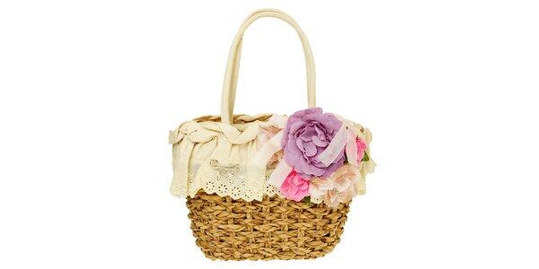 Dámska krémová pletená taška s kvetinovou aplikáciou Café Noir