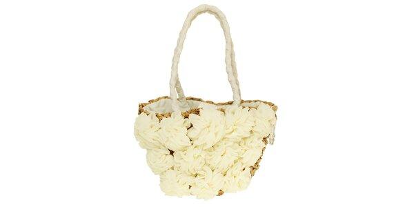 Dámska krémová kabelka s kvetinovou aplikáciou Café Noir