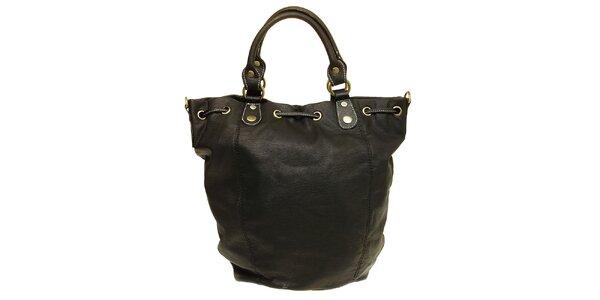 Dámska čierna kabelka so sťahovacím remienkom Café Noir