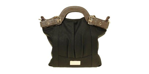 Dámska čierna kabelka s hnedými ušami Café Noir