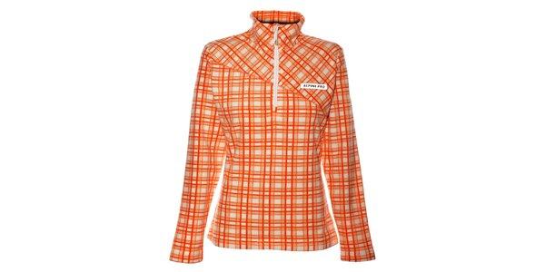 Dámska oranžová fleecová mikina Alpine Pro s kockovanou potlačou