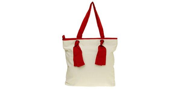 Dámska červeno-biela látková kabelka Café Noir