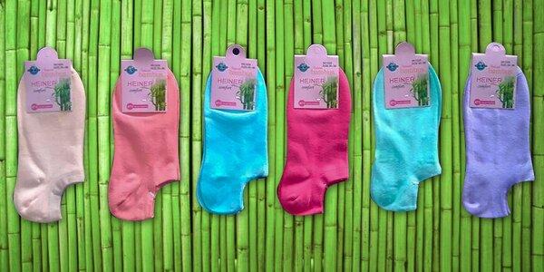 Členkové farebné dámske bambusové ponožky – 6 párov