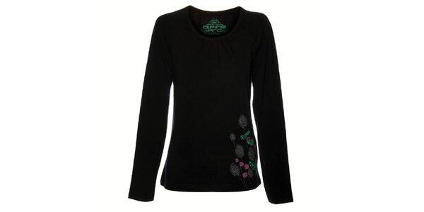 Dámske čierne tričko Alpine Pro s potlačou
