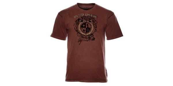 Pánske hnedé tričko Alpine Pro s potlačou