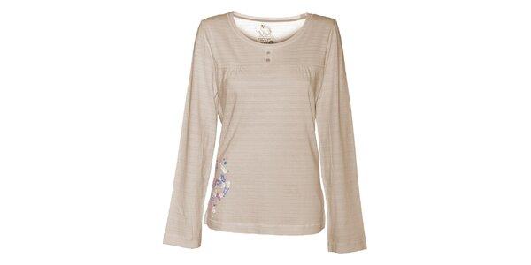 Dámske krémové tričko Alpine Pro s potlačou
