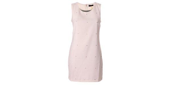 Dámske čisto biele púzdrové šaty s kamienkami Daphnea