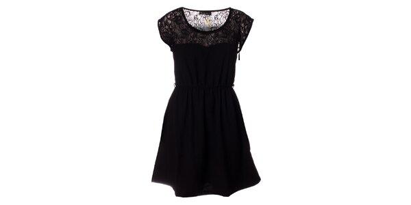 Dámske čierne šaty s čipkou Daphnea