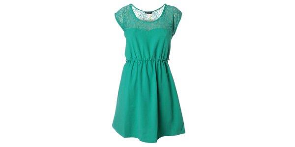 Dámske zelené šaty s čipkou Daphnea