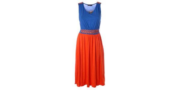 Dámske oranžovo-modré dlhšie šaty s prepletaným opaskom Daphnea