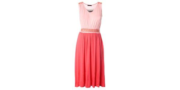 Dámske ružovo-lososové dlhšie šaty s prepletaným opaskom Daphnea