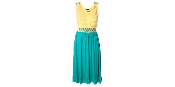 Dámske tyrkysovo-žlté dlhšie šaty Daphnea