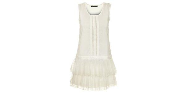 Dámske biele šaty s tylovými volánmi Daphnea