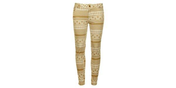 Dámske béžovo-biele vzorované skinny nohavice Daphnea