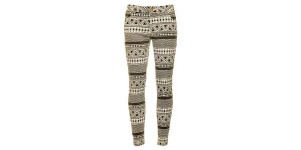 Dámske čierno-biele vzorované skinny nohavice Daphnea